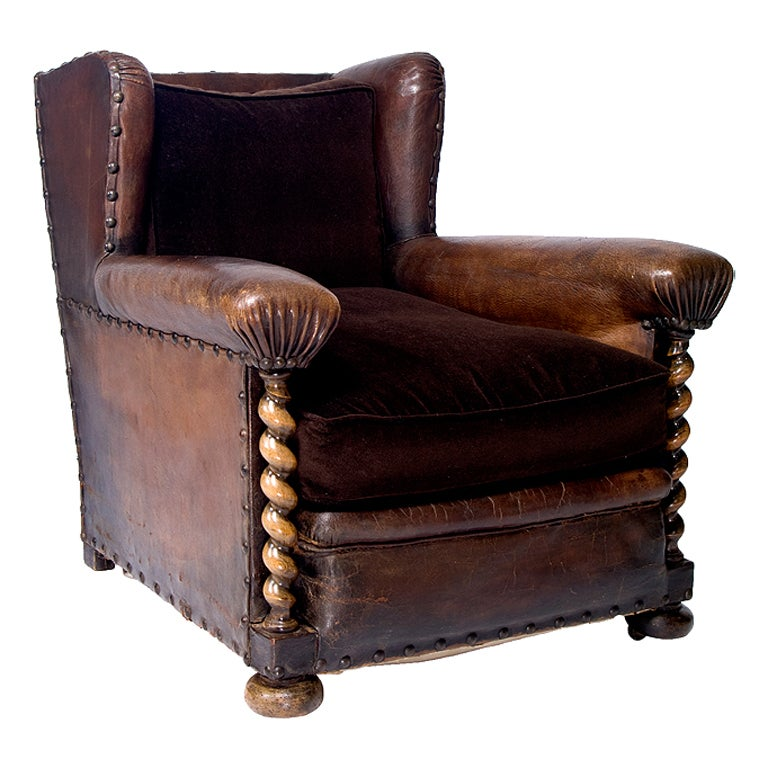 A Handsome 19th Century French Leather Library Chair 1