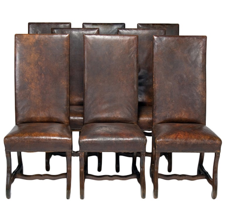 Leather french dining chairs - Set Of Six Andalusian Leather Dining Chairs At 1stdibs