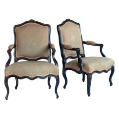 Glamorous Pair of Ebonized Regency Fauteuils