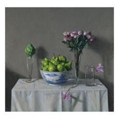 Green Pears, Pink Roses, Artichoke