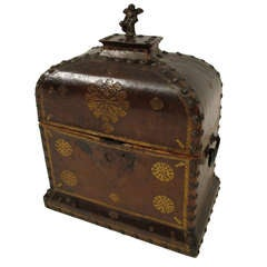 18th Century English Leather Document Box