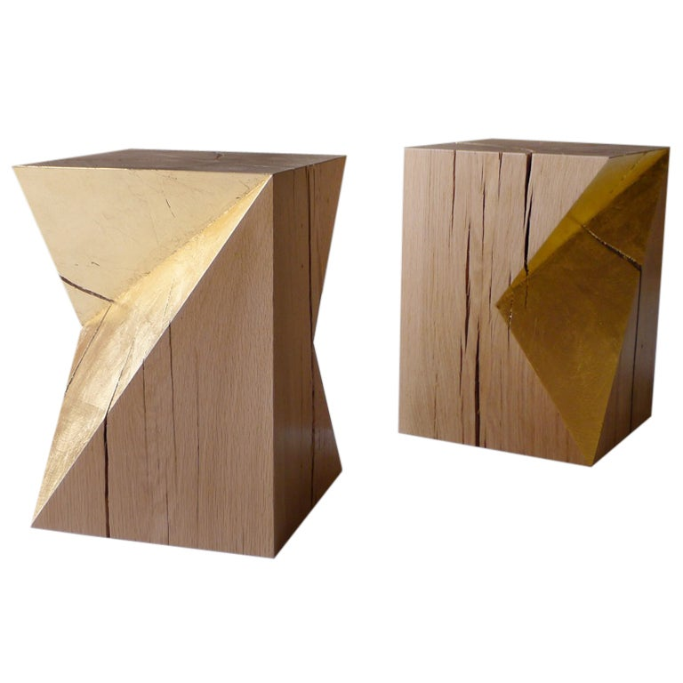 Gold cube stools or side tables by damien hamon at 1stdibs for Cube side table