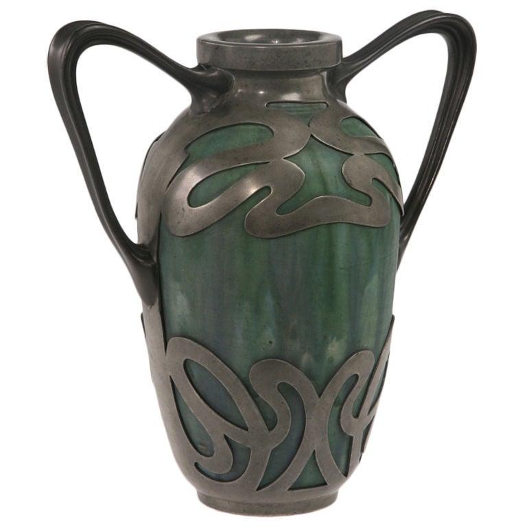 Stoneware With Metal Mount Vase By Alexandre Bigot At 1stdibs