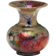 19th Century Iridescent Bright Colorful Star Vase by Lucien Lévy-Dhurmer