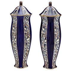 20th Century Vase Pair, Otto Prutscher or Karl Klaus for Serapis-Fayence Wahliss