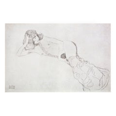 Reclining Nude with Braid from the Portfolio Funfundzwanzig by Gustav Klimt