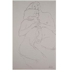 Two Girls from the Portfolio Funfundzwanzig by Egon Schiele