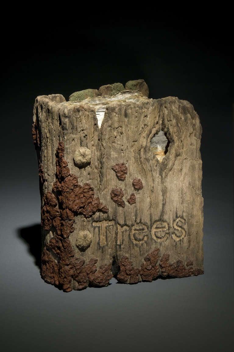 ceramic trompe l 39 oeil book of trees sculpture by eric