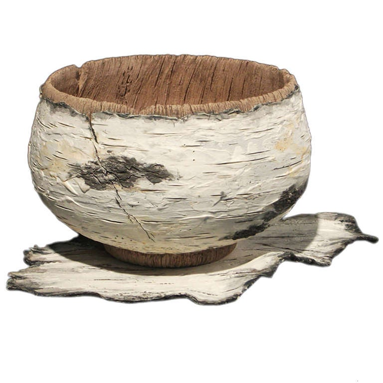 ceramic trompe l 39 oeil birch tea bowl on tray by eric. Black Bedroom Furniture Sets. Home Design Ideas