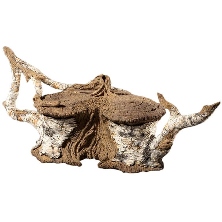 ceramic trompe l 39 oeil white branch birch stump teapot by. Black Bedroom Furniture Sets. Home Design Ideas