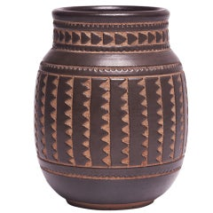 Art Nouveau Asiatic Geometric Vase by Emile Lenoble
