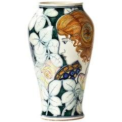 19th C. Italian Art Nouveau Vase by Galileo Chini
