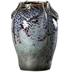 Blue Stoneware Vase with Silver Leaf Mount by  Atelier de Glatigny Vase