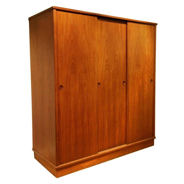 1960 39 S Danish Modern Teak Armoire Wardrobe Cabinet At 1stdibs