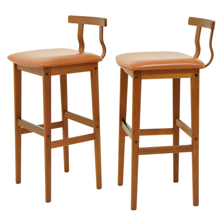 Pair Danish Modern Teak Bar Stools At 1stdibs