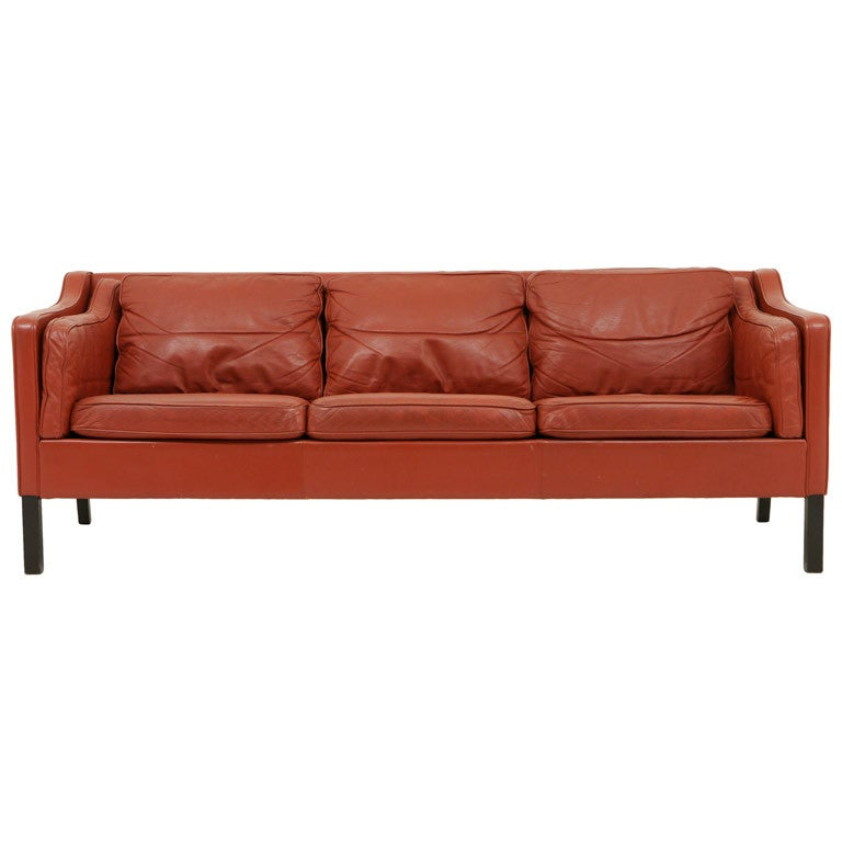 Danish Modern Leather Sofa In The Style Of Borge Mogensen At 1stdibs