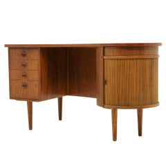 Curved Teak Writing Desk with Bar