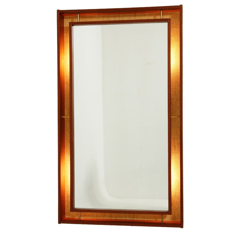 Rosewood back lit wall mirror cool at 1stdibs for Cool full length mirror