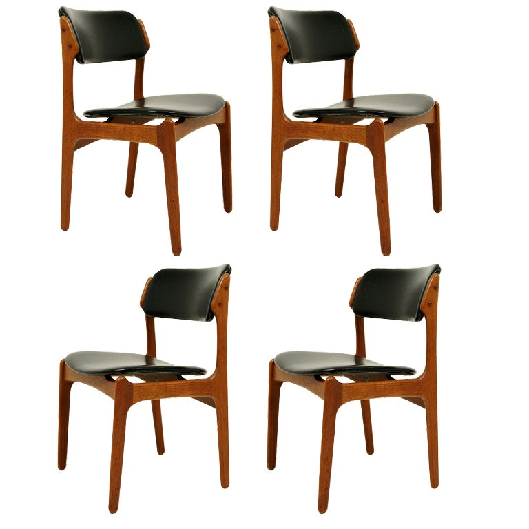 4 teak chairs by erik buck at 1stdibs