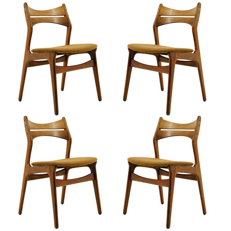 Set 4 Rosewood Dining Chairs By Erik Buck At 1stdibs