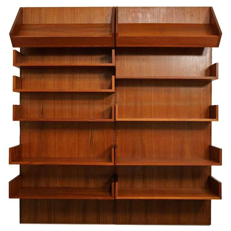 Danish teak wall mounted shelving system at 1stdibs Wall mounted shelf systems