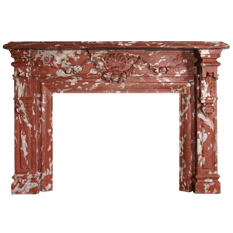 French Louis Xiv Style Red Languedoc Marble Fireplace Surround At 1stdibs