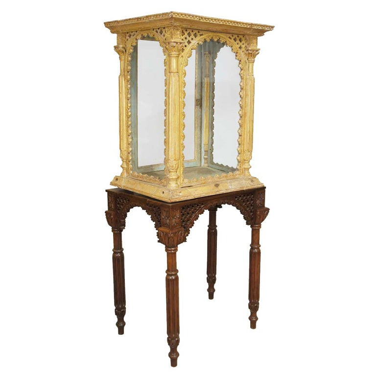 Indo Portuguese Gilt Display Cabinet On Custom Rosewood