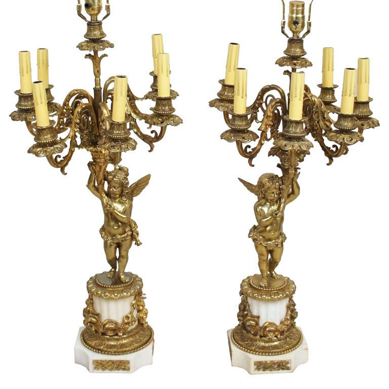 Pair French Louis Xvi Style Bronze Putti Candelabra Table