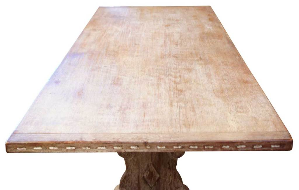 New mexican indian school limed oak trestle table at 1stdibs - Limed oak dining tables ...