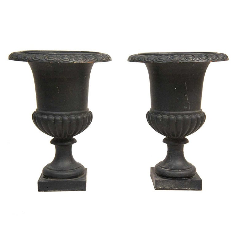 Pair Of Small English Neoclassical Cast Iron Garden Urn At