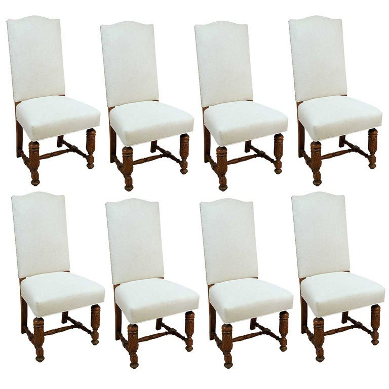Set Of 8 French Louis XIII Style Oak Upholstered Dining Chairs At 1stdibs