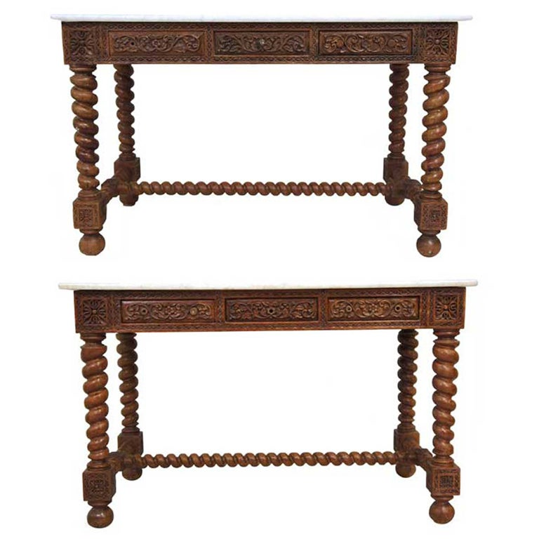 Pair Indo Portuguese Marble Top Teak Consoles At 1stdibs