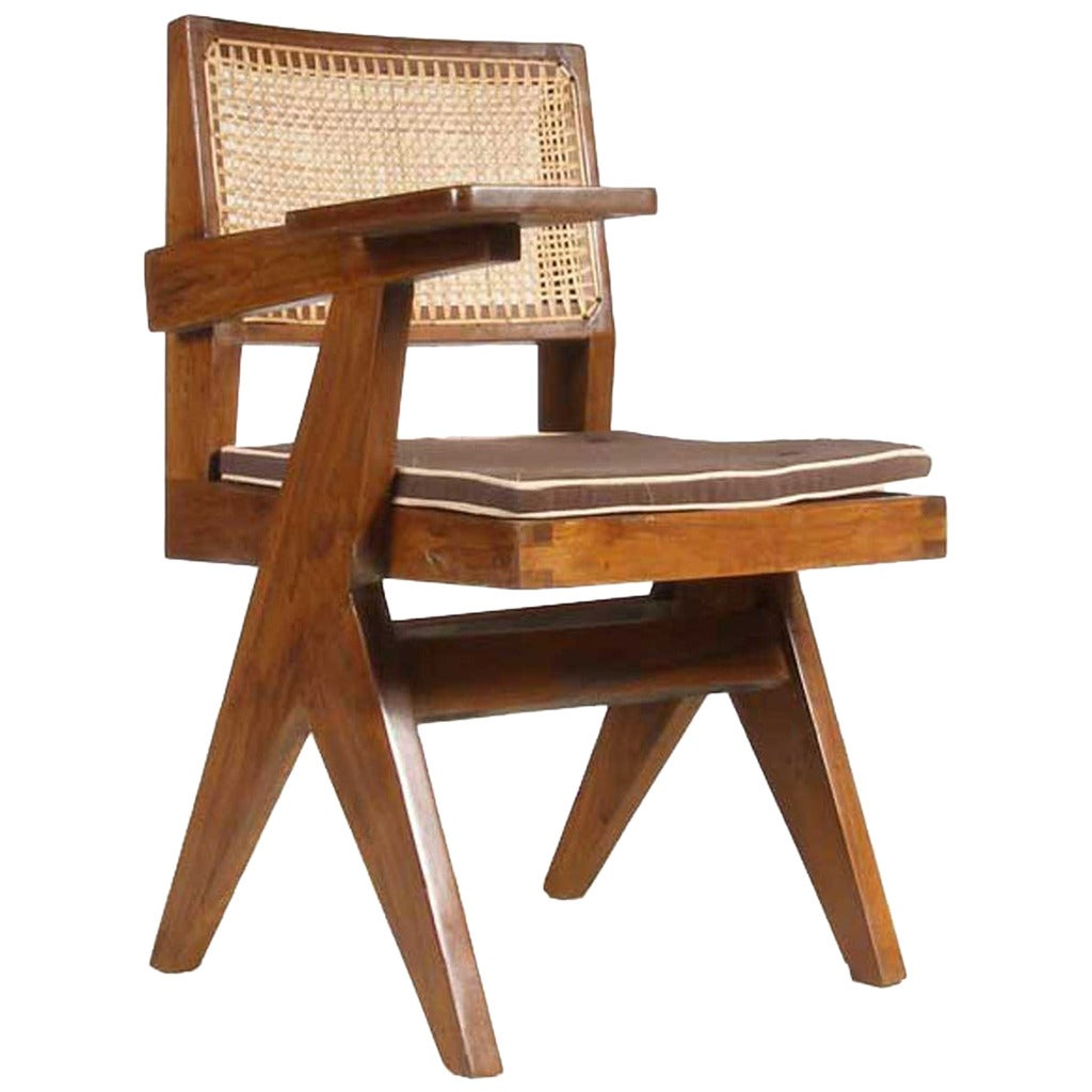Pierre Jeanneret Caned Teak Class Chair From Chandigarh India At 1stdibs
