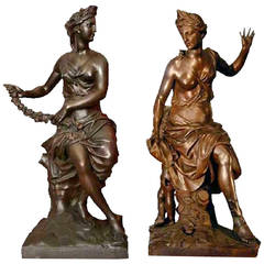 After Antoine Coysevox, Important Pair of Cast Iron Statues