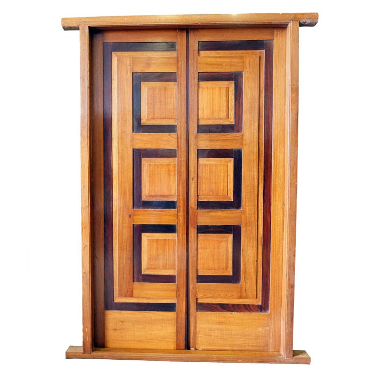 Modernist teak and rosewood paneled double door with frame for Main door frame