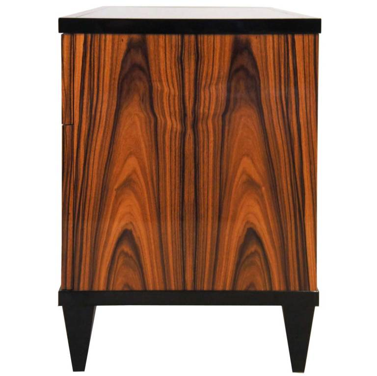 pair of american black lacquer and zebra wood low side