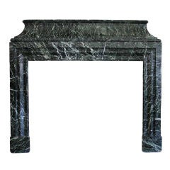 J. CANTINI French Louis XIV Style Vert de Mer Marble Fireplace