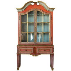 Gustavian Painted Display Cabinet on Stand