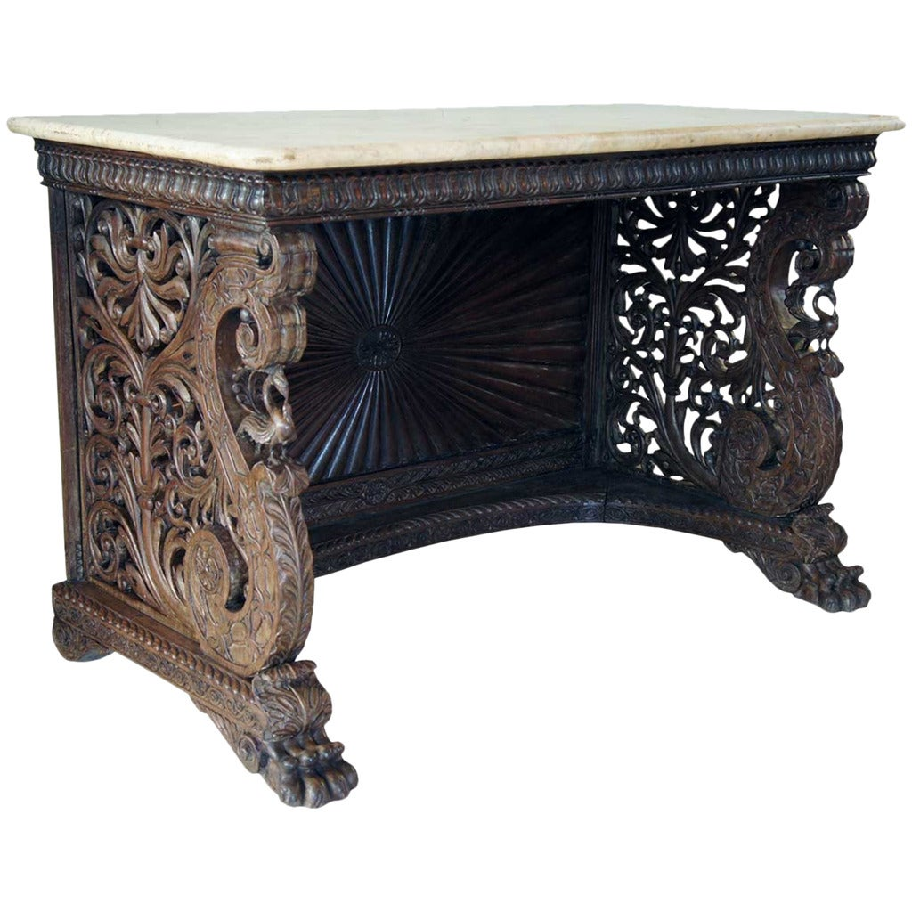 Marble Top Coffee Table India: Anglo-Indian Rosewood And Marble Console Table At 1stdibs