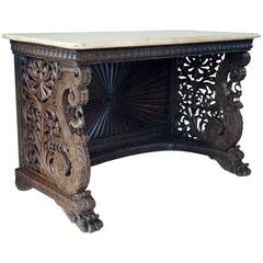 Anglo-Indian Rosewood and Marble Console Table