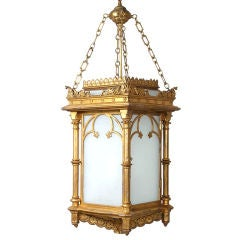 English Gothic Revival Gilt Cast Zinc Hanging  Hall Lantern