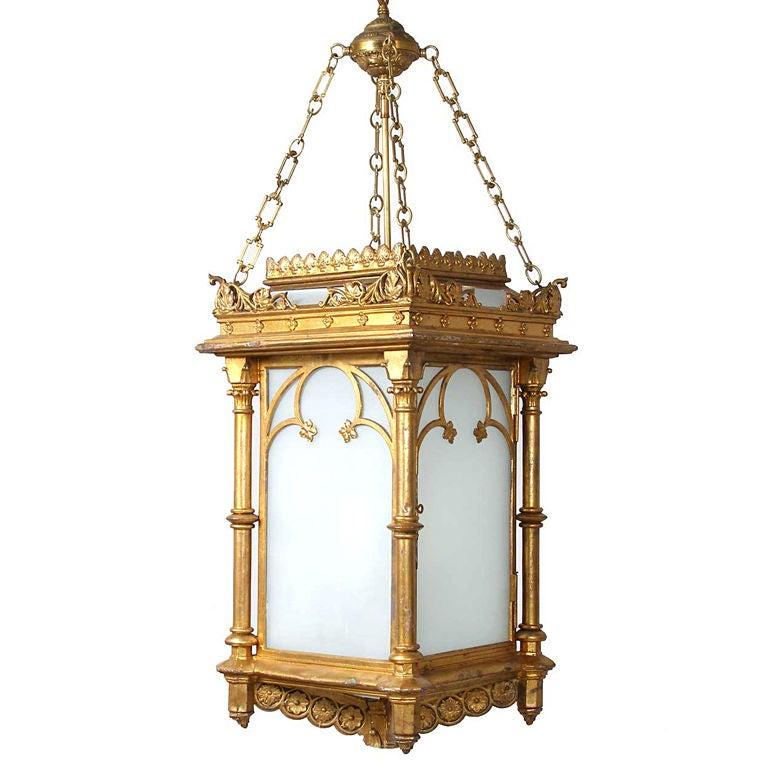 English Gothic Revival Gilt Cast Zinc Hanging Hall Lantern