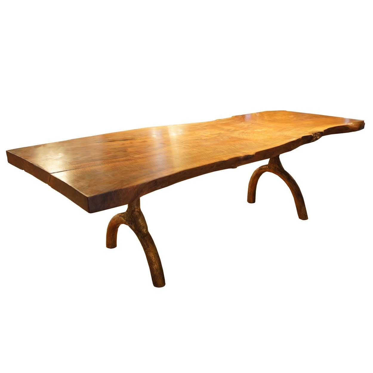 Large American Hudson Furniture Solid Walnut Slab Dining Table