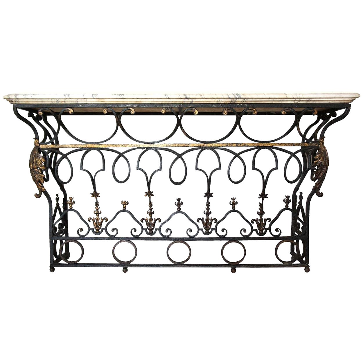 French marble top wrought iron balcony as a console table for Wrought iron table bases marble top