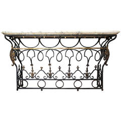 French Marble Top Wrought Iron Balcony as a Console Table