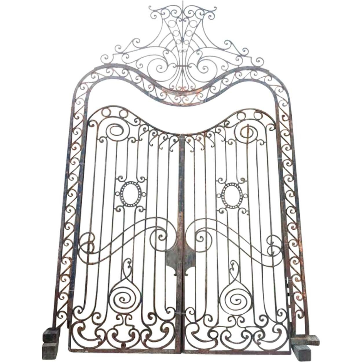 Large french beaux arts wrought iron double door gates for Large french doors