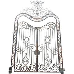 Large French Beaux Arts Wrought Iron Double Door Gates with Frame and Transom
