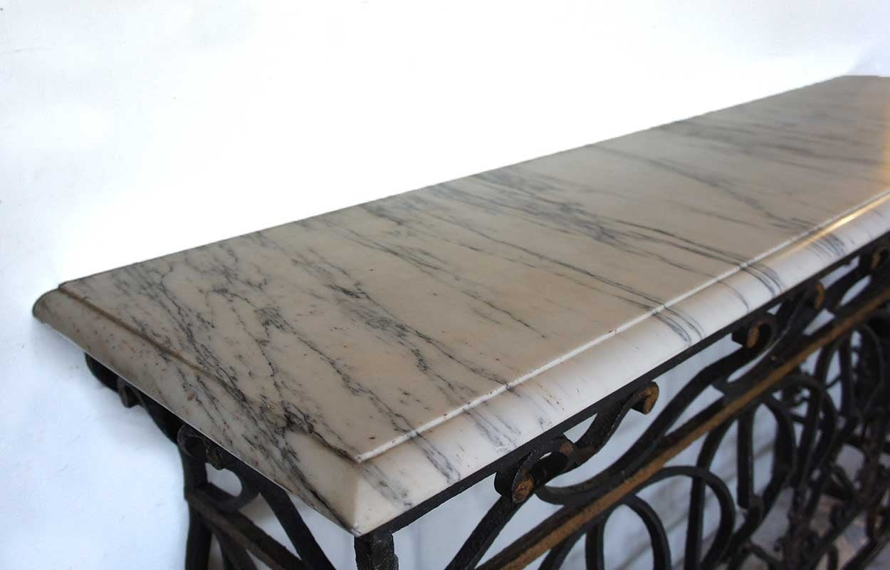 French marble top wrought iron balcony as a console table for Balcony console