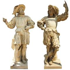 Alexander Calandrelli Pair of Terracotta Pottery Lansquenet Statues