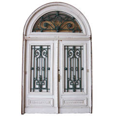 French Belle Époque Painted Mahogany and Iron Double Door and Transom